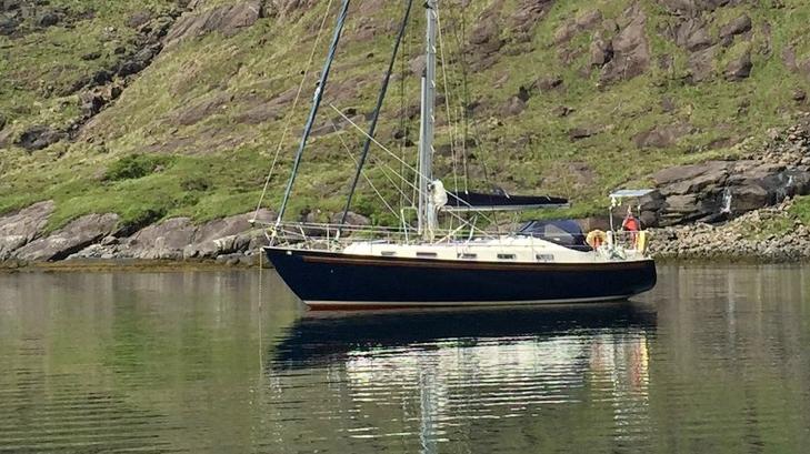 Rival 36 at anchor
